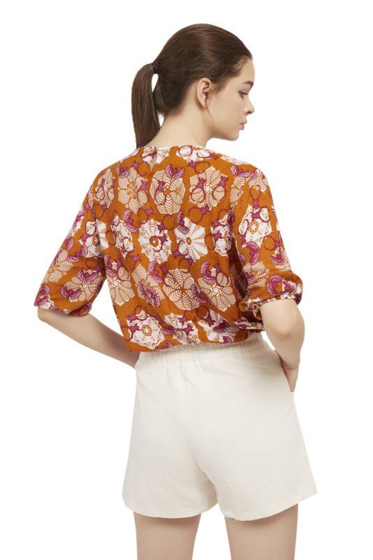 Padma Puff Sleeve Batik Fractal Casual Women Blouse 3