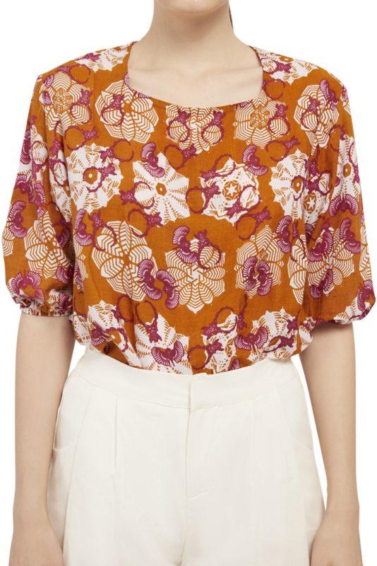 Padma Puff Sleeve Batik Fractal Casual Women Blouse 4