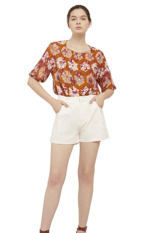 Padma Puff Sleeve Batik Fractal Casual Women Blouse 5
